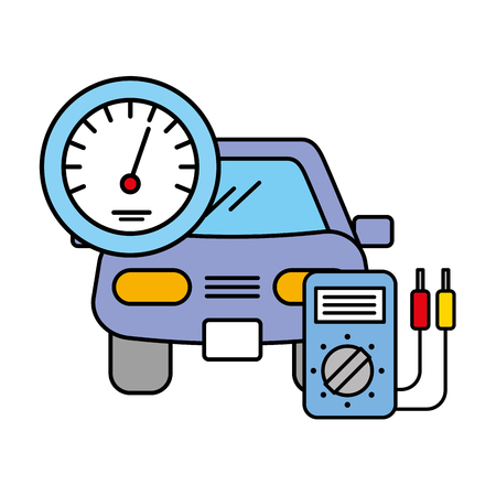 vehicle speedometer and diagnostic automotive service vector illustration Illustration
