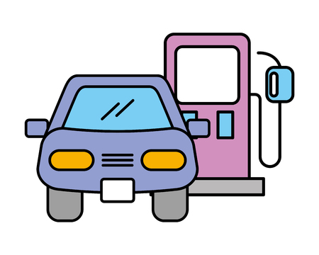 station gasoline car automotive service vector illustration