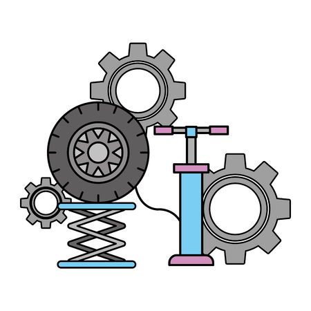 pumps air wheel car automotive service vector illustration Ilustrace