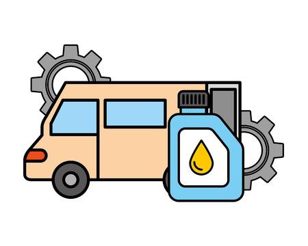 truck vehicle gallon oil gears automotive service vector illustration
