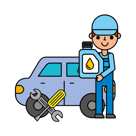 worker station car oil tools automotive service vector illustration