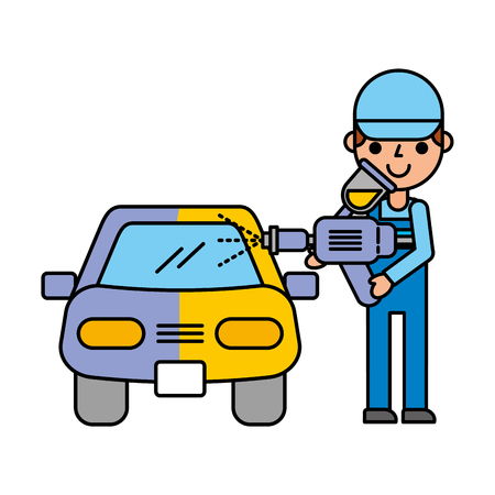 man painting spray car automotive service vector illustration 일러스트