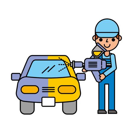 man painting spray car automotive service vector illustration Illustration