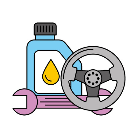 gallon oil wheel and wrench automotive service vector illustration Stock Vector - 109721352