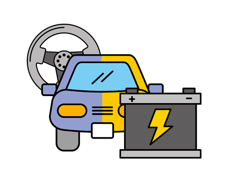 painting car battery automotive service vector illustration Stock Illustratie