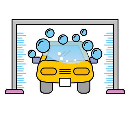 car wash shampoo bubbles automotive service vector illustration Illustration