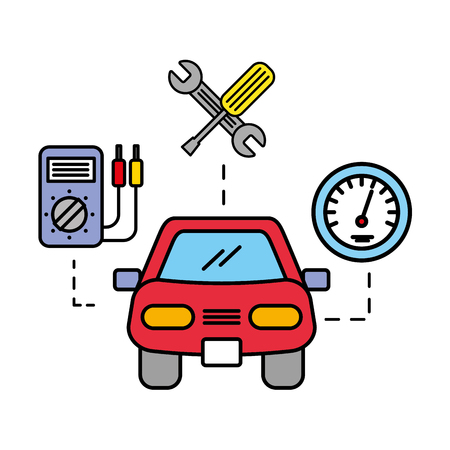 car vehicle diagnostic tools and speedometer automotive service vector illustration