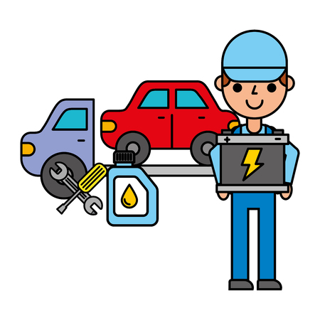 worker with battery crane truck repair automotive service vector illustration