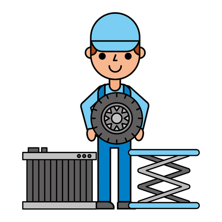 worker with tyre car radiator automotive service vector illustration Illustration