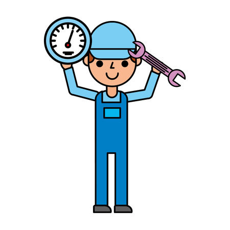mechanical man with speedometer and wrench automotive service vector illustration