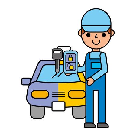 car painting key automotive service vector illustration Banque d'images - 109721363