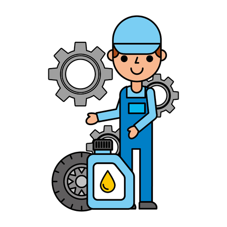mechanical gallon oil tyre vehicle automotive service vector illustration