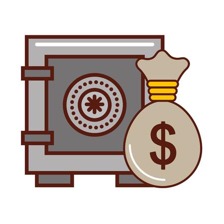 safe box money bag bank finance vector illustration