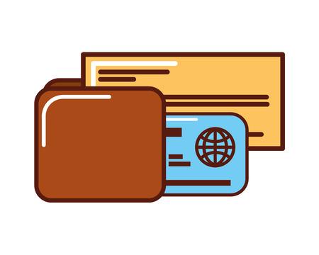 business money check cerdit card wallet vector illustration