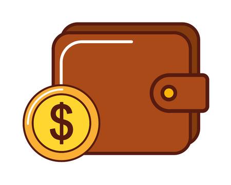 business wallet money coin dollar vector illustration Illustration