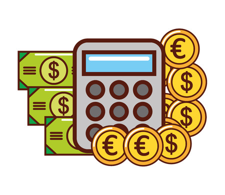 business calculator euro dollar banknote coins vector illustration
