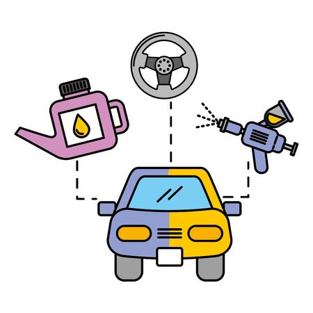 peinture voiture pulvérisation huile et roue automobile service illustration vectorielle Vecteurs