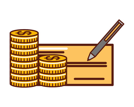 stacked coins money check bank pencil vector illustration  イラスト・ベクター素材