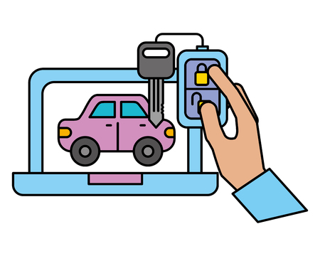 laptop car vehicle chain key automotive service vector illustration