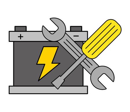 clé de batterie tournevis outils illustration vectorielle de service automobile Vecteurs