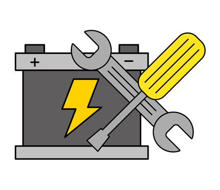 battery wrench screwdriver tools automotive service vector illustration