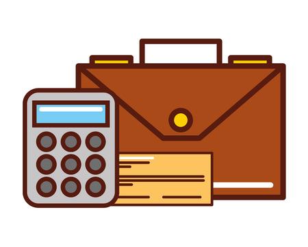 business briefcase calculator check bank vector illustration
