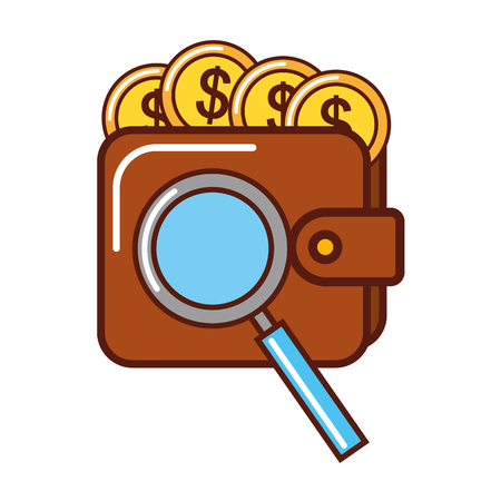 business money coins wallet magnifying glass vector illustration