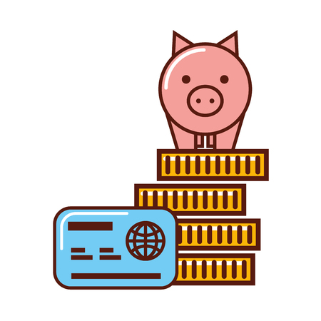 business piggy bank on stack coins credit card money vector illustration