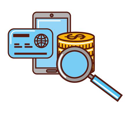 business money smartphone credit card magnifying glass vector illustration Illustration