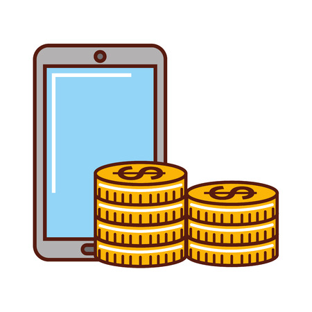 business money coins currency smartphone vector illustration