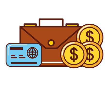 business money dollar coins credit card briefcase vector illustration