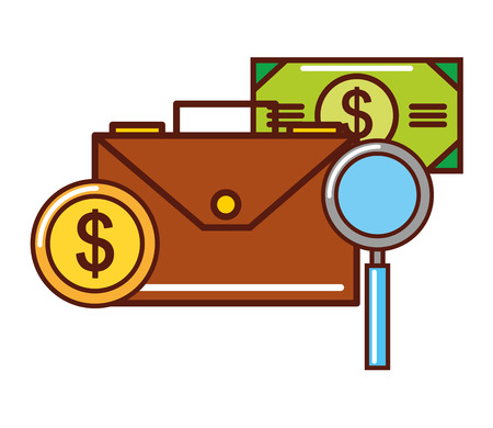 business money coin banknote briefcase magnifying glass vector illustration Illustration