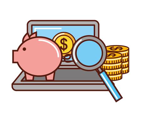 business piggy bank money coins laptop magnifying glass vector illustration Illustration