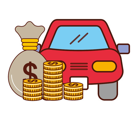 business money bag coins car vehicle vector illustration Illustration