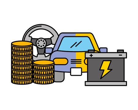business money coins car battery wheel vector illustration