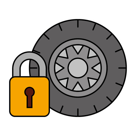 tyre wheel security tool automotive service vector illustration Çizim