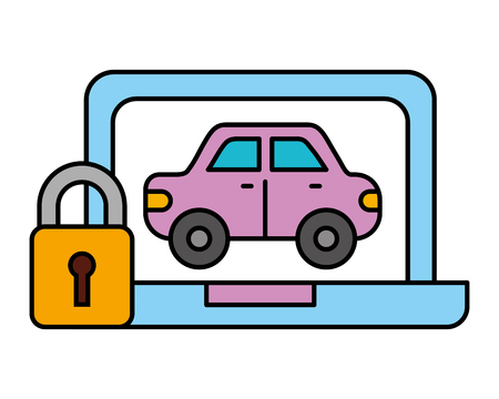laptop car vehicle transport security automotive service vector illustration