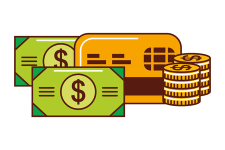 business money stacked coins banknote card bank vector illustration