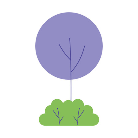 round tree bush natural landscape vector illustration