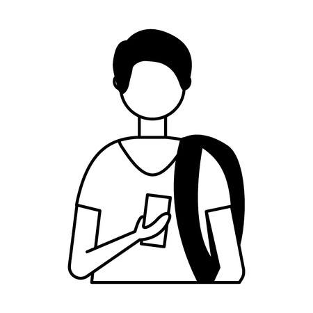 young man using smartphone device vector illustration 向量圖像