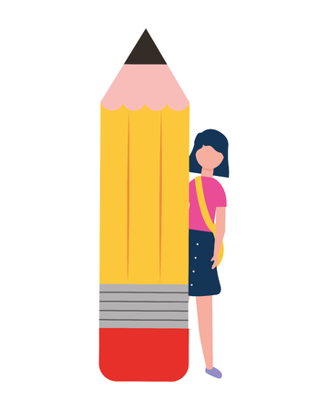 young woman with big wooden pencil vector illustration