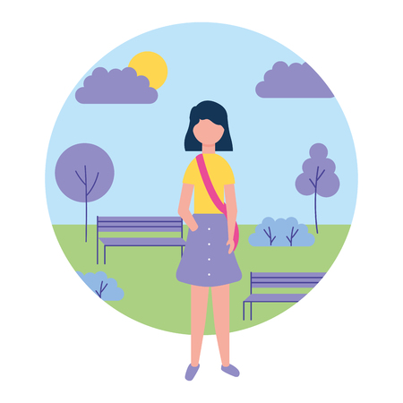 young woman standing in the park vector illustration