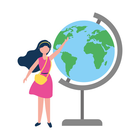 woman with purse pointing school globe map vector illustration