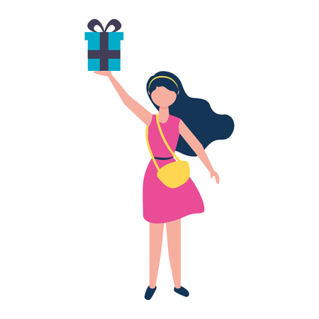 young woman with purse holding gift box vector illustration