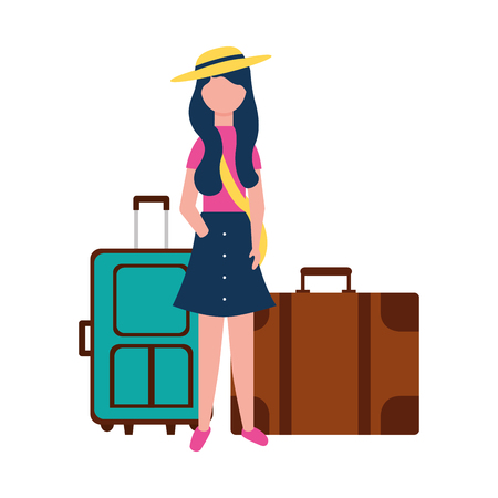 young woman with two suitcases travel vector illustration