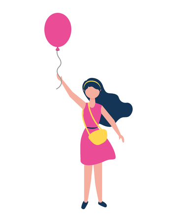 young woman with purse holding balloon vector illustration Stock Illustratie