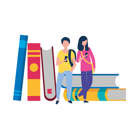 young man and woman using smartphone and stack books vector illustration