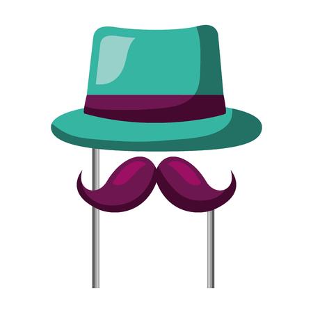 classic hat mustache carnival costume party vector illustration Illustration