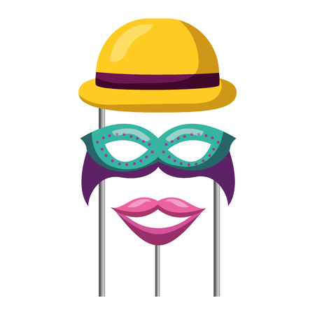 masquerade carnival festival bowler hat mask and moyuth in sticks vector illustration Zdjęcie Seryjne - 109721498