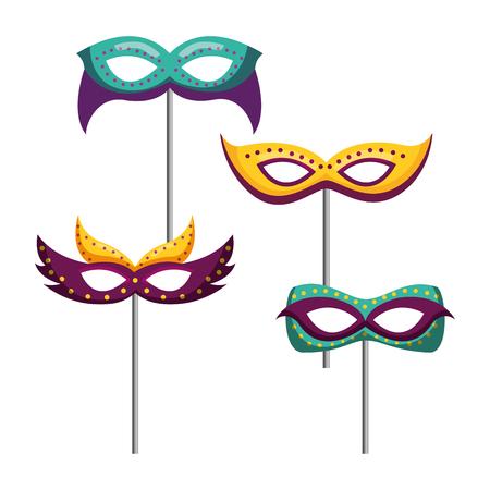 masquerade carnival festival set masks in sticks vector illustration
